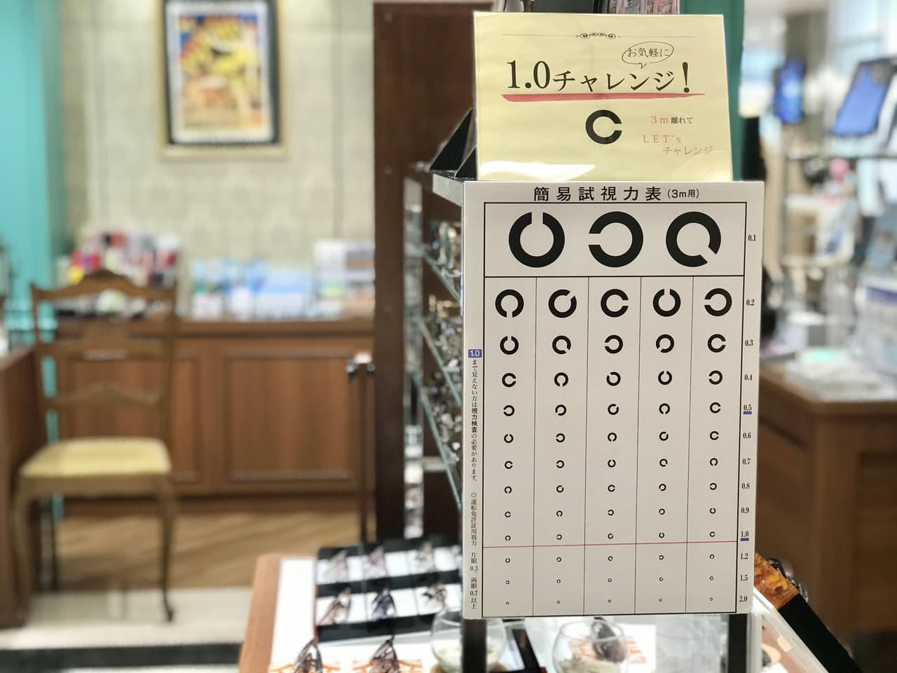 視力検査表と店