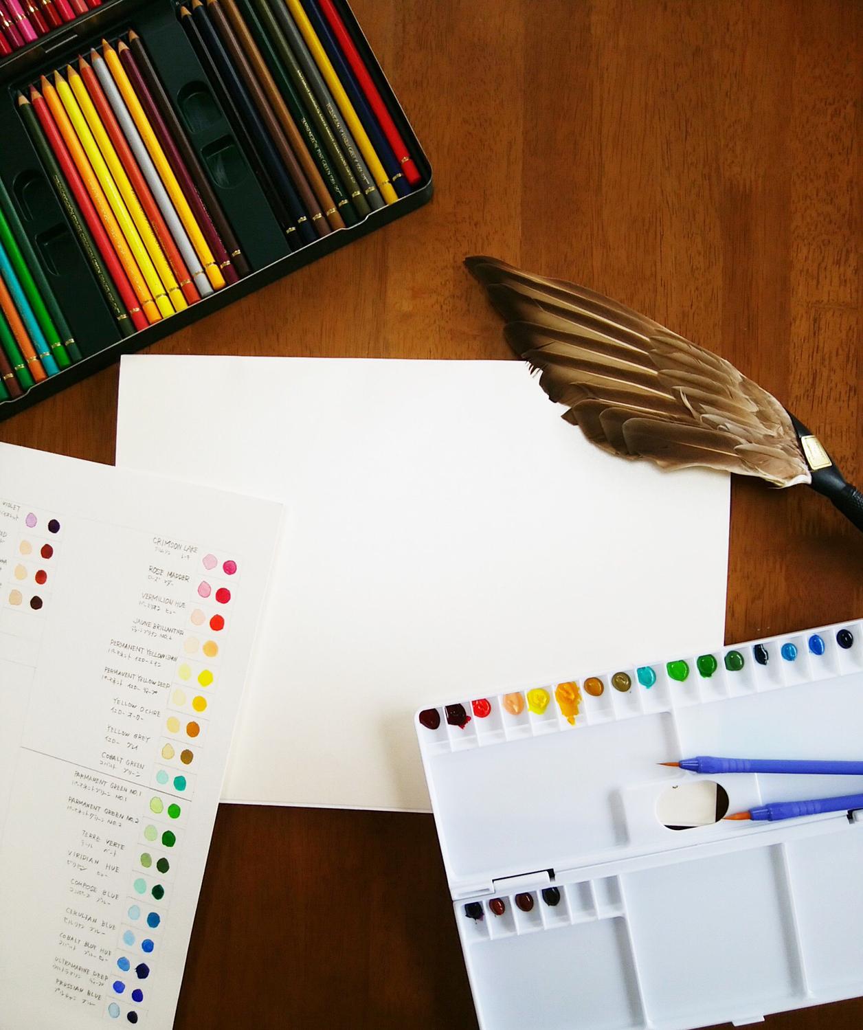水彩色鉛筆と画用紙