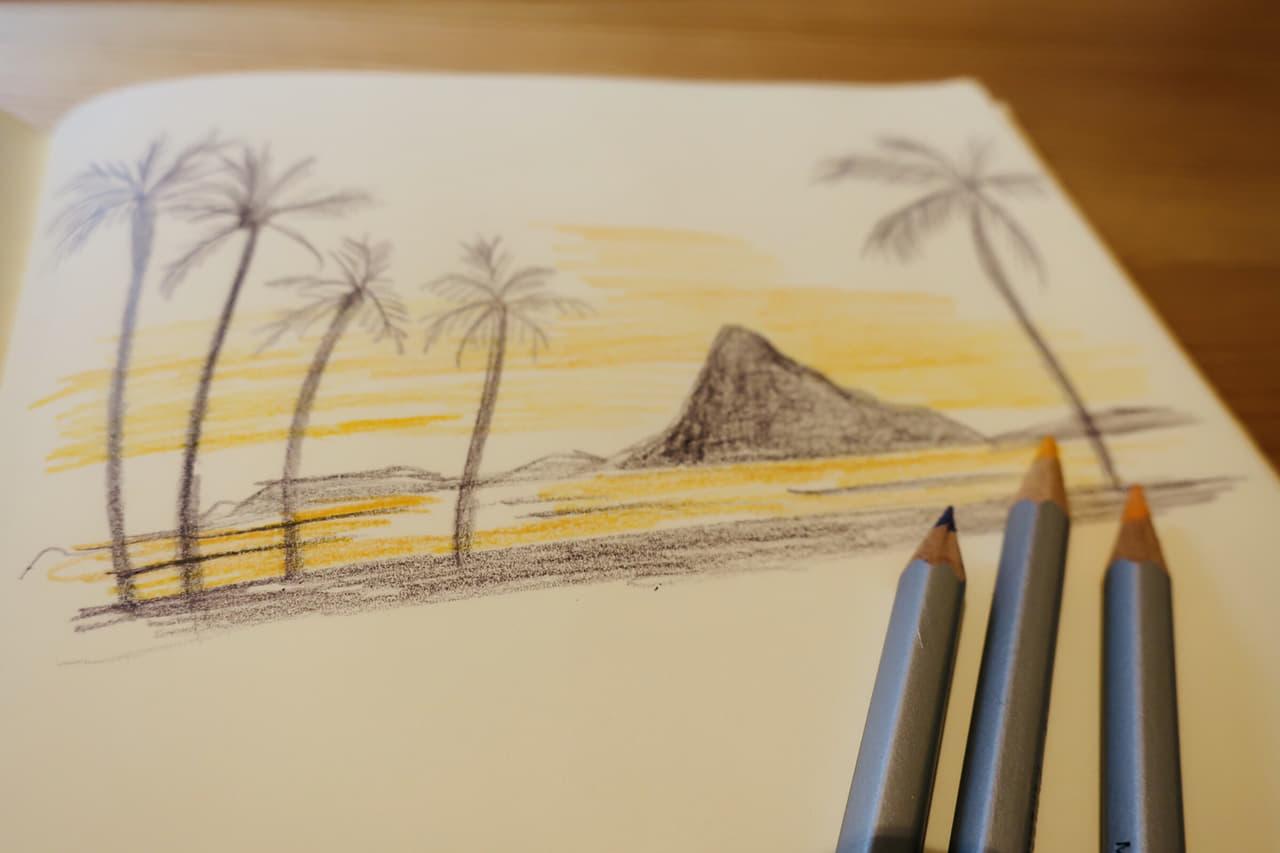 水彩色鉛筆を使った風景画