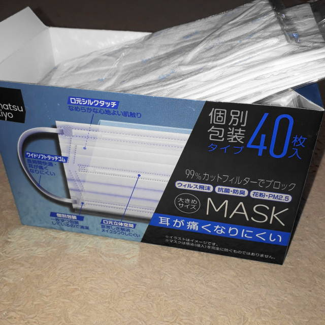 使い捨てマスク箱入り