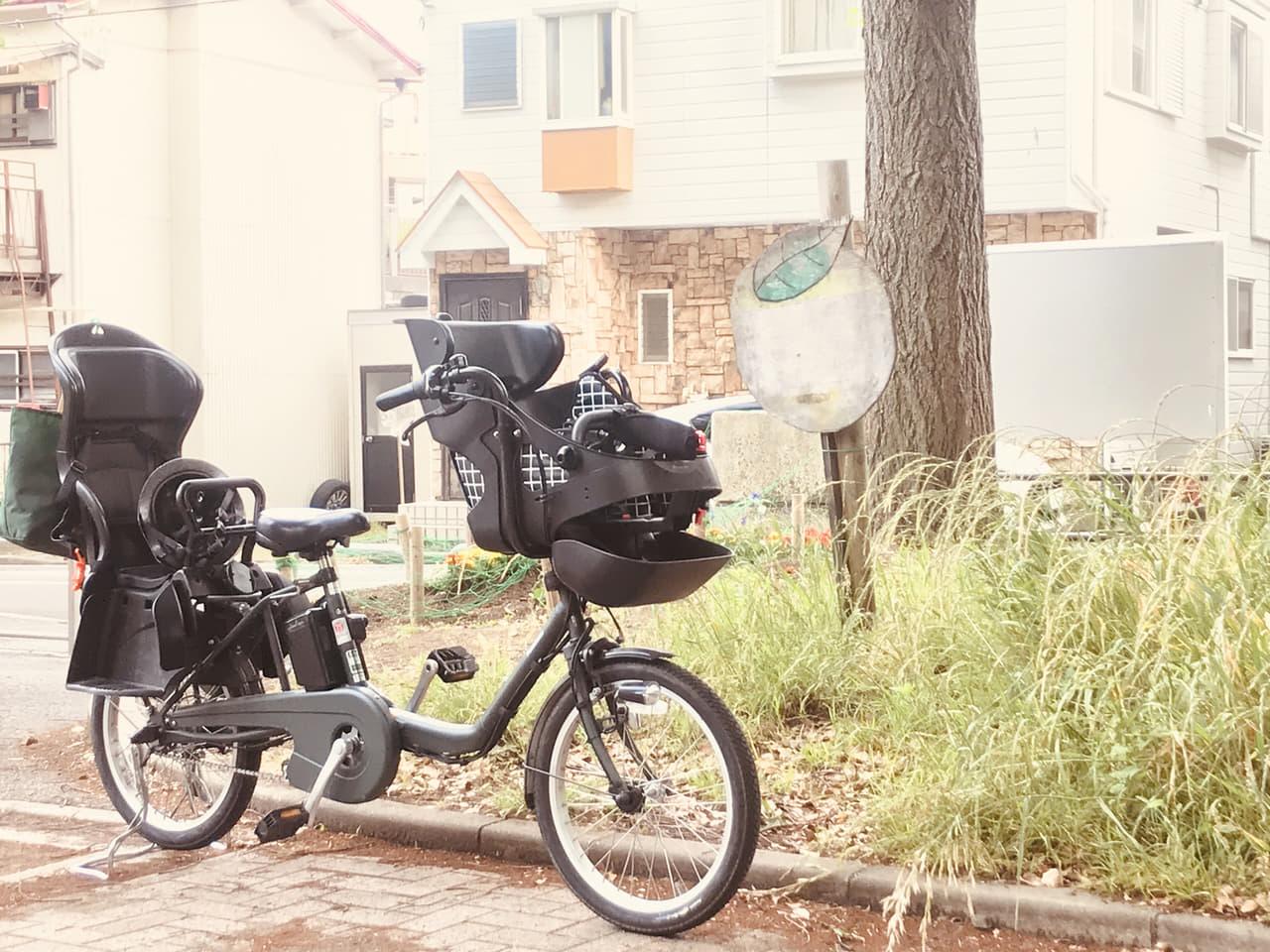 電動自転車と木
